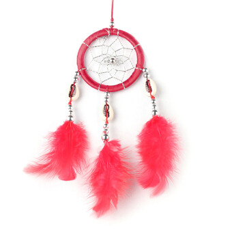 Monocyclic Teeth Dream Catcher Wall Hanging Home Car Decor (Red)