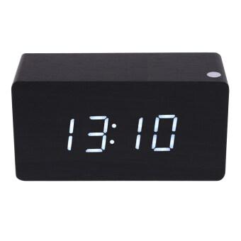 Morden White  Wooden Digital Black Alarm Clock Calendar Thermometer