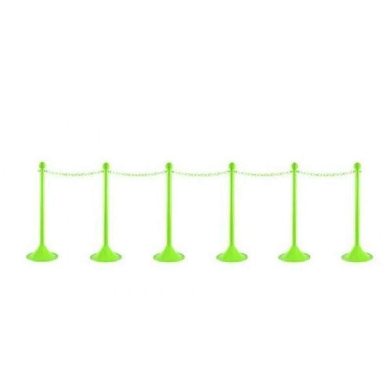 """Mr. Chain 71014-6 Safety Green Plastic Stanchion Kit with 50 of 2"""" link Chain and C-Hooks, Pack of 6"""