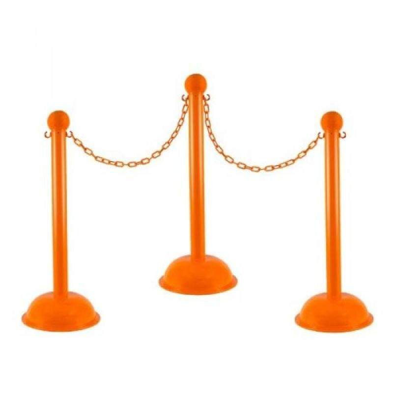 Mr. Chain 71312-afety Orange Plastic Stanchion Kit with 30 of 2 HD chain and C-Hooks, Pack of 4