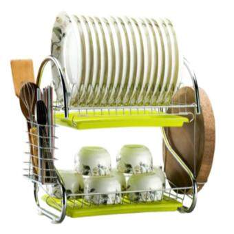 Multi-functional Double Layer Stainless Steel Kitchen Metal Dish Drying Rack Shelf Holder Organizer