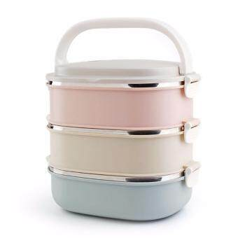 Multicolor Double Layer Stainless Steel Rectangular Lunch Box
