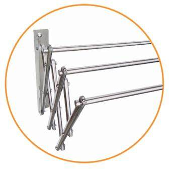 MyHome Stainless Steel Wall Mounted Retractable Racks (5ft) - 4