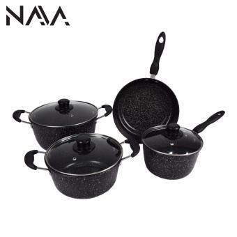 NaVa 7 PCS Non Stick Frying Marble Coating Pan Wok Cooking Set (BLACK)