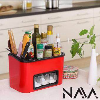 Harga NaVa All In 1 Kitchen Organizer with Spice Rack Container (RED)