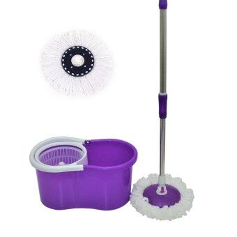 NAVITASS Microfibre Spin Mop with 2 Mop Head (Purple)