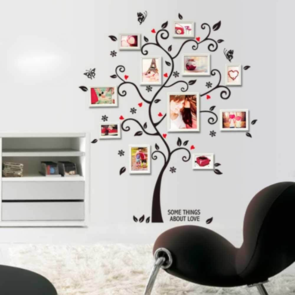 New Black Tree Wall Decal Sticker Family Quote Photo Frame Home Decor Large