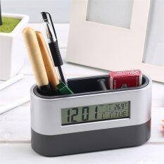 Promo Baru Jam Alarm Digital Termometer Pengatur Waktu Hadiah Kalender Dudukan Pena Di Tiongkok