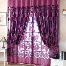 New Fl Tulle Voile Door Window Curtain Dark Purple