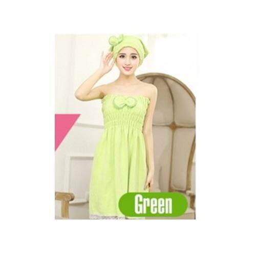 New KoreanBath Towel Set (Head + Body Towel) Green