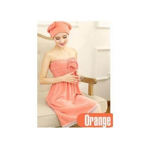 New KoreanBath Towel Set (Head + Body Towel) Orange