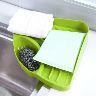New Portable Kitchen Sink Corner Storage Rack Sponge Holder WallMounted Tool Green