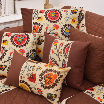 Harga New style Southeast Asian multi-size combination-suit sofa cushionpillow cover exotic auspicious flower pillow cover