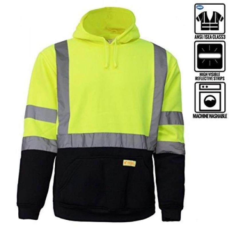 New York Hi-Viz Workwear H8312 Mens ANSI Class 3 High Visibility Class 3 Sweatshirt, Hooded Pullover, Knit Lining, Black Bottom (Lime, Large)