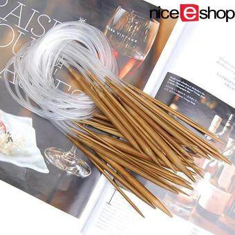 Harga niceEshop 1Set (18pcs) Single Pointed Carbonized Bamboo CircularKnitting Needles