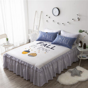 Harga Nordic simple one-piece 1.5 m1.8m bed Cotton bed skirt