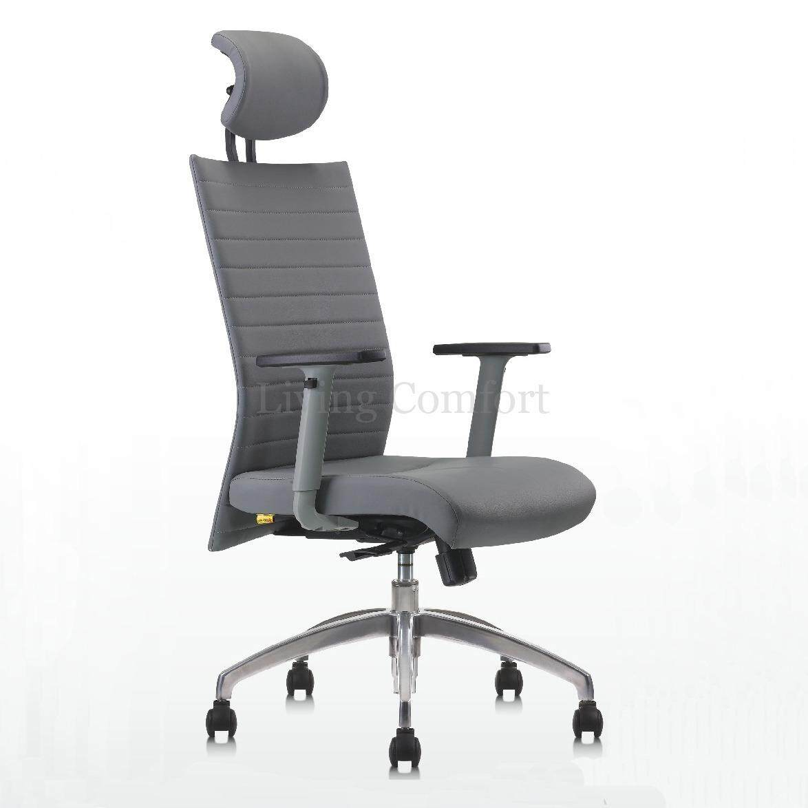 Office Chair Becko Pu Leather Modern High Back Executive Computer Desk Task Grey Malaysia