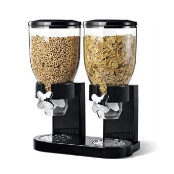 OH Double Cup Cereal Dry Food Dispenser Storage Container Dispense Kitchen Machine for Gift Black