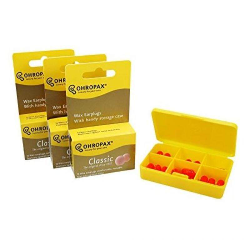 Buy Ohropax Wax Ear Plugs Qty 3 Boxes - Total of 36 Ear Plugs with Free Yellow 6 Compartment Box Malaysia