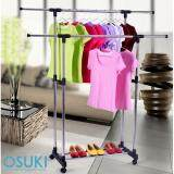 OSUKI Portable Double Pole Clothes Hanger Rack (Adjustable Height & Extendable Length)