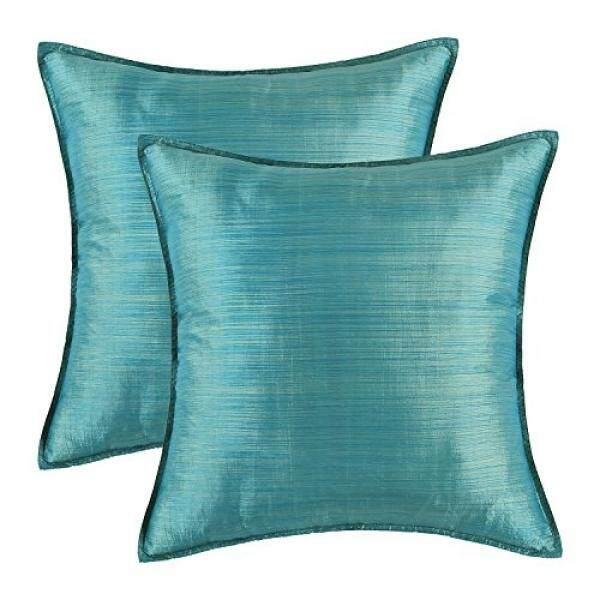 Pack of 2, CaliTime Silky Throw Pillow Covers Cases for Couch Sofa Bed, Modern Light Weight Dyed Striped, 18 X 18 Inches, Teal - intl