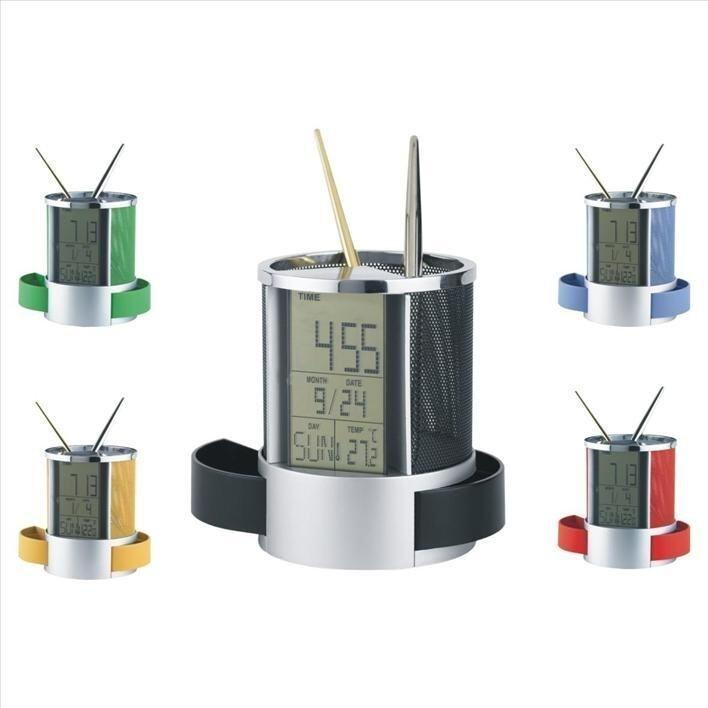 Pen Holder,Clock,Day,Date & Temprature Black
