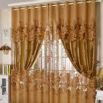 Peony Pattern Voile Curtain Living Room Window Tulle Sheer Curtain 250*100cm
