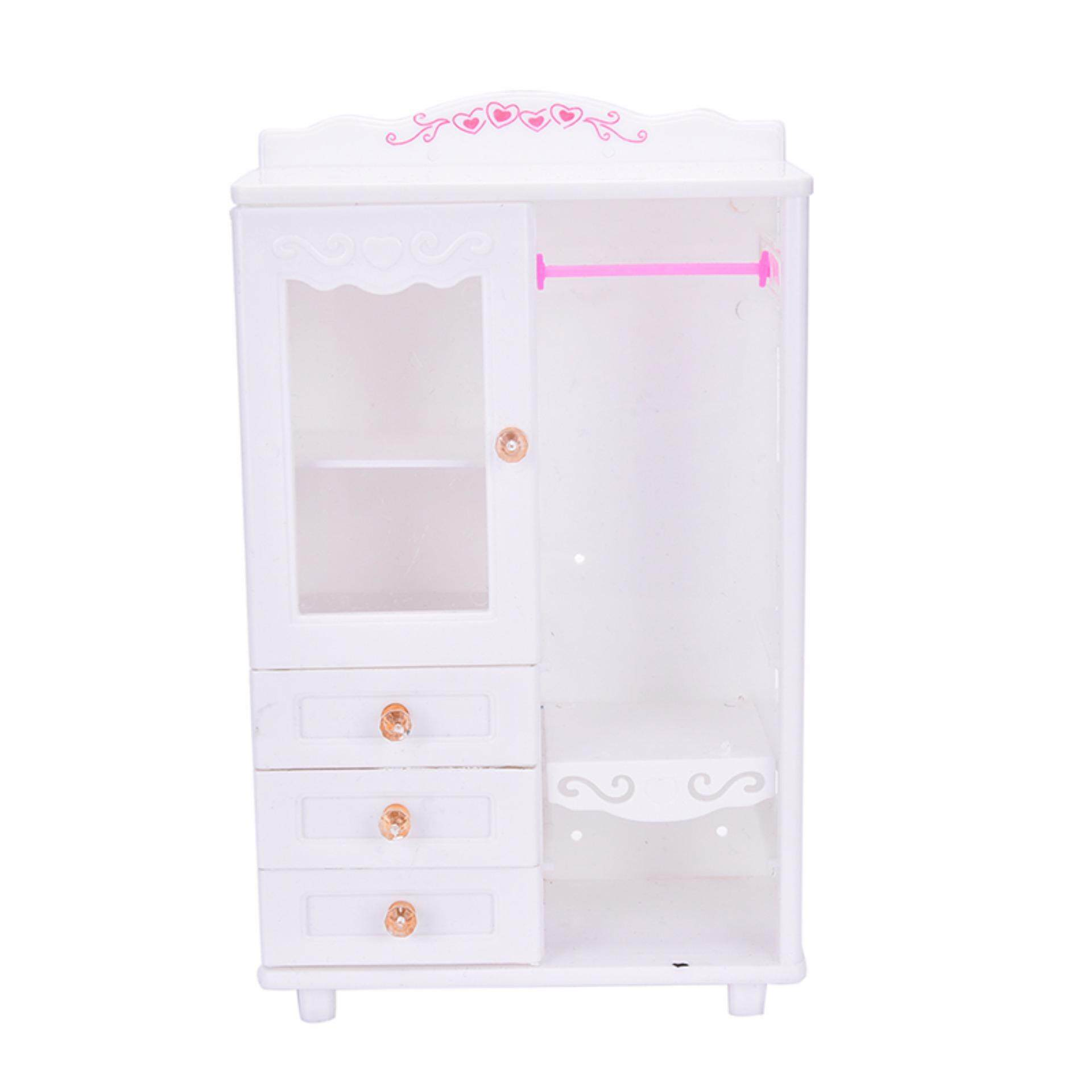 Fitur Plastik Mebel Ruang Tamu Lemari Pakaian Untuk Barbie Aksesoris Katalog Berbie Baju Rumah Boneka Mainan Internasional 3