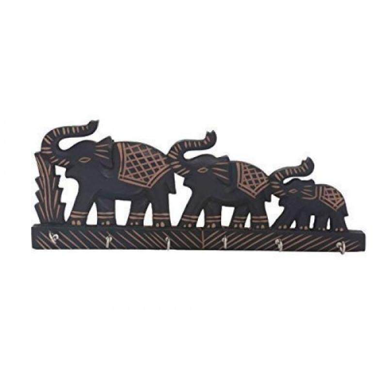 "PMK Wooden Key Holder ""Triple Elephant"" Design, Black Color Key Hangers, Used for Gift to loved ones"