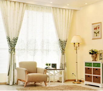 Popular Floral Tulle Voile Door Window Curtain Drape Panel Sheer Scarf Valances 1.5x2.7M-green