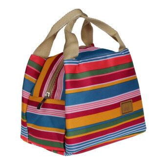 Harga Portable Canvas Insulated Cooler Colorful Stripe Pattern PicnicGrocery Lunch Box Bag Handbag with Zipper for Student Clerk Style 3- Intl
