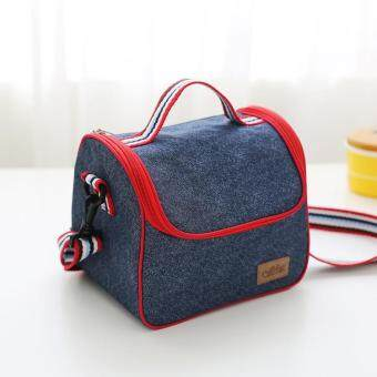 Harga Portable Insulated Denim lunch Bag Thermal Food Picnic Bags forWomen kids Men Cooler Lunch Box Bag Tote 22.5*16*19.5CM