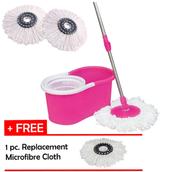 Portable Magic Spin Mop Cleaner with 2 Mop Heads + Free 1 pc.Replacement Mop Cloth