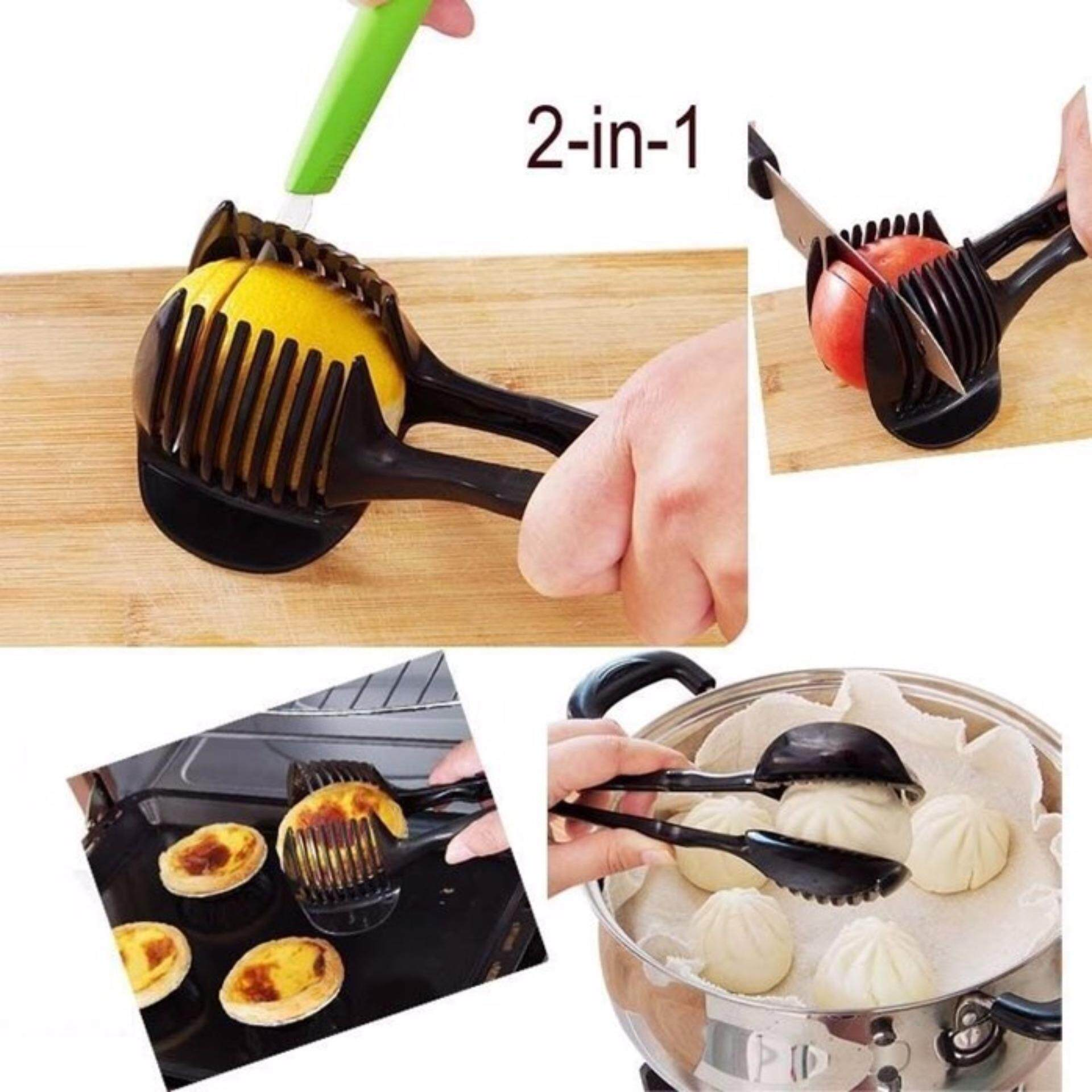 Multifunctional 2 in 1 Tomato Slices Tomato Lemon Orange Helper Convenience Portable Tiny Useful Fruit Slicer (Shun Kang)