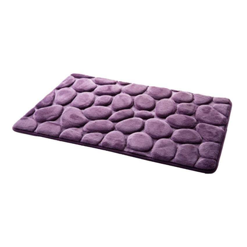 Praktis Berkualitas Tinggi Seksi Jual 40X60 Cm 3D Batu Nonslip Karpet Lantai Kamar Mandi Pebble Flanel Bathroom Mandi Permadani- internasional