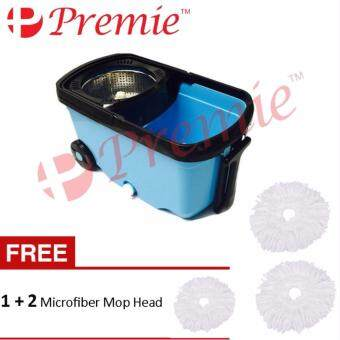 Harga PREMIE Easy Magic Spin Mop Stainless Steel Rotation Dryer Cleaner Bucket With Wheel (Blue) Free 2+1 Mop Head