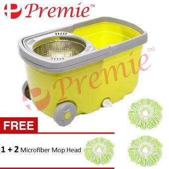 Harga PREMIE Stainless Steel Easy Magic Spin Mop With Wheel Press Handle Rotation Dryer Cleaner Bucket **Free 1+2 Mop Head**