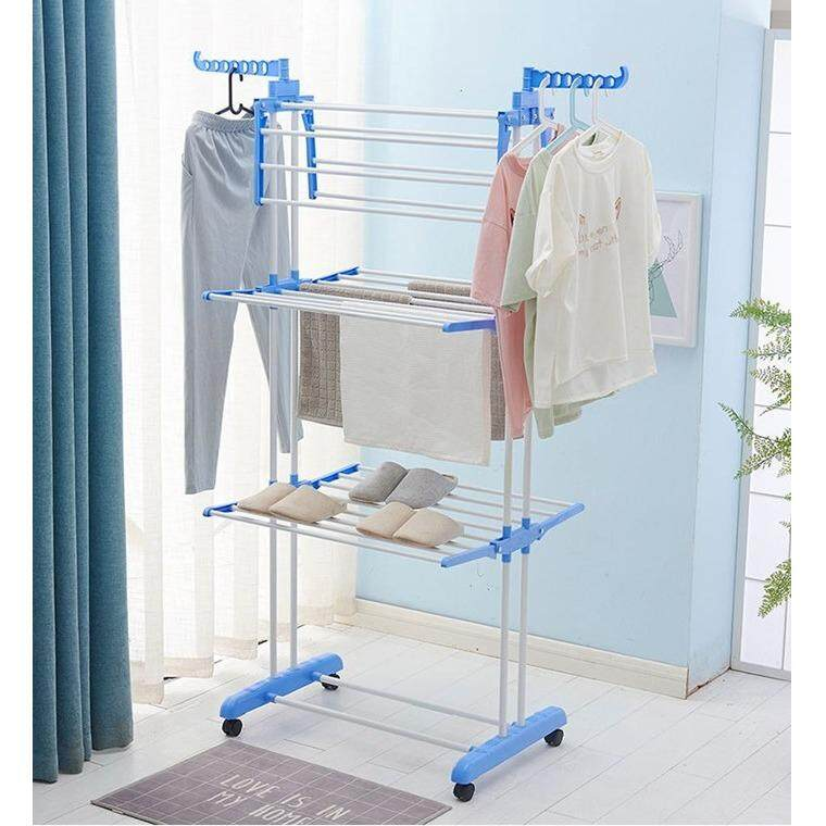 Premium Quality Large Capacity 3 Layers Laundry Drying Racks with Wheels