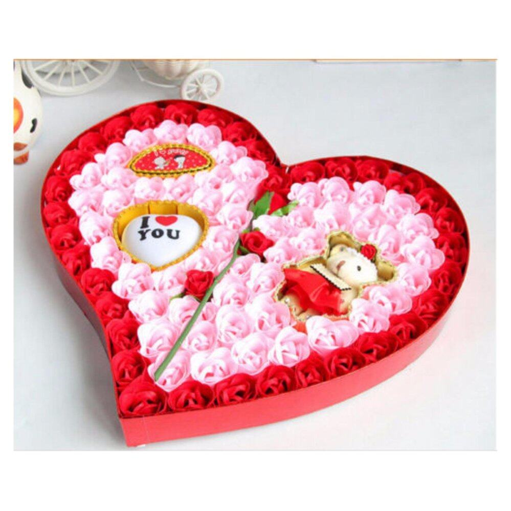 Premium rose flower soap set with bear love gift bunga sabun negle