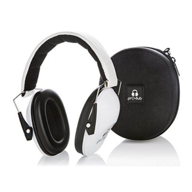 prO-Bub Earmuffs with Hard Shell Case - Hearing Protection for Small Adults, Kids and Toddlers, White