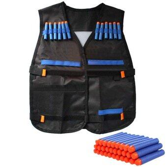 Protective Waterproof Elite Tactical Vest with 100 PCS Blue Dartsfor Nerf N-strike Elite Series Black