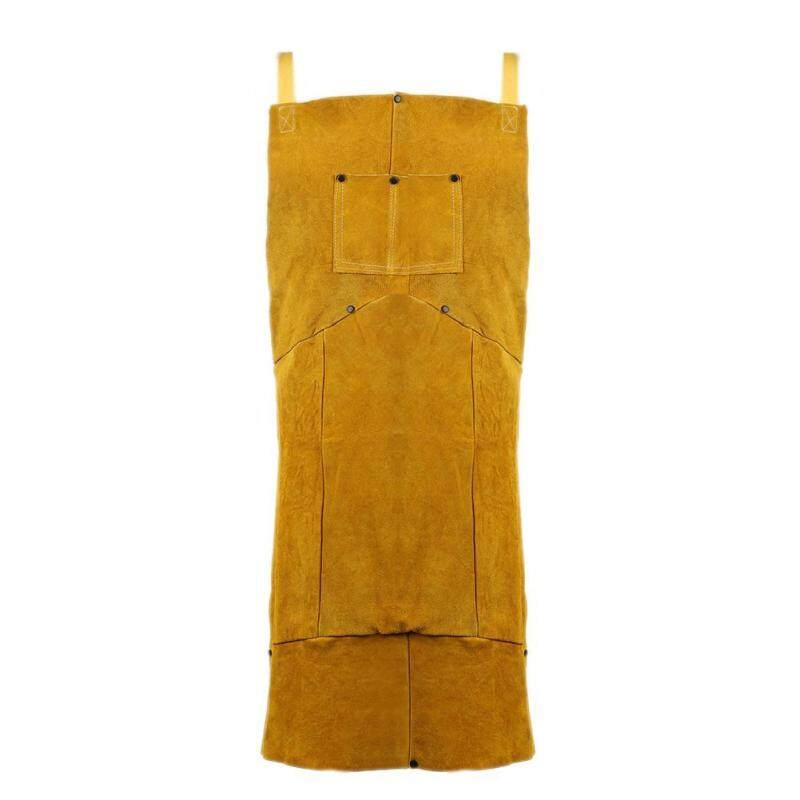 Buy Protective Work Wear Argon-arc Welding Leather Apron with Pocket(Camel)-L Malaysia