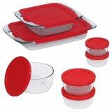 [ iiMONO ] Pyrex 14 Piece Easy Grab Glass Bakeware and Food Storage Set, Clear