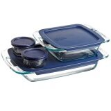 [ iiMONO ] Pyrex Easy Grab Glass Bakeware and Food Storage Set (8-Piece, BPA-free)