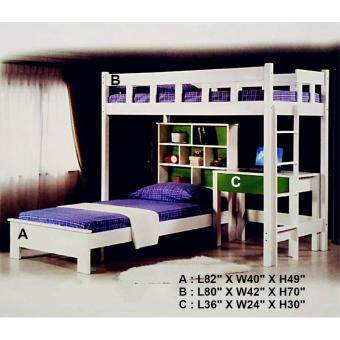 Harga Q 10 Solid Wood Single Bed- Upper Bed B (White)