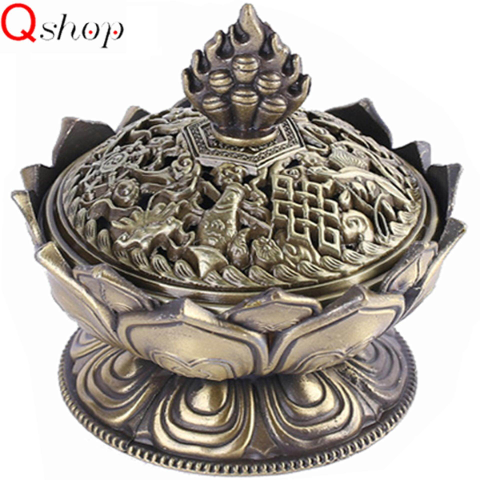 Q-shop Handmade Incense Tower Burner Alloy Incense Burner Lotus Aroma Furnace Creative Gifts Decorative Crafts Incense Burner Incense Furnace Sandalwood Furnace - intl