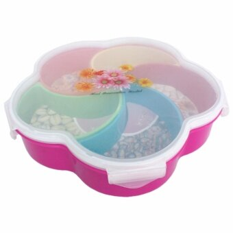 Harga Raya 5 Sections Cherry Blossom Plastic Serving Tray With Lid