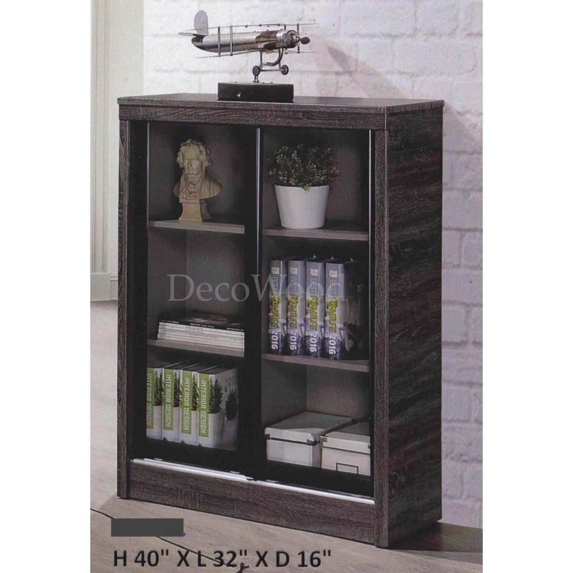 Ready-Fixed 2 & Half Feet Sliding Glass Door Book Case Book Shelf Book Cabinet Multi-Purpose Display Cabinet Storage Cabinet (Dark Grey Colour) L813MM X W410MM X H1020MM Pre Order 1 Week