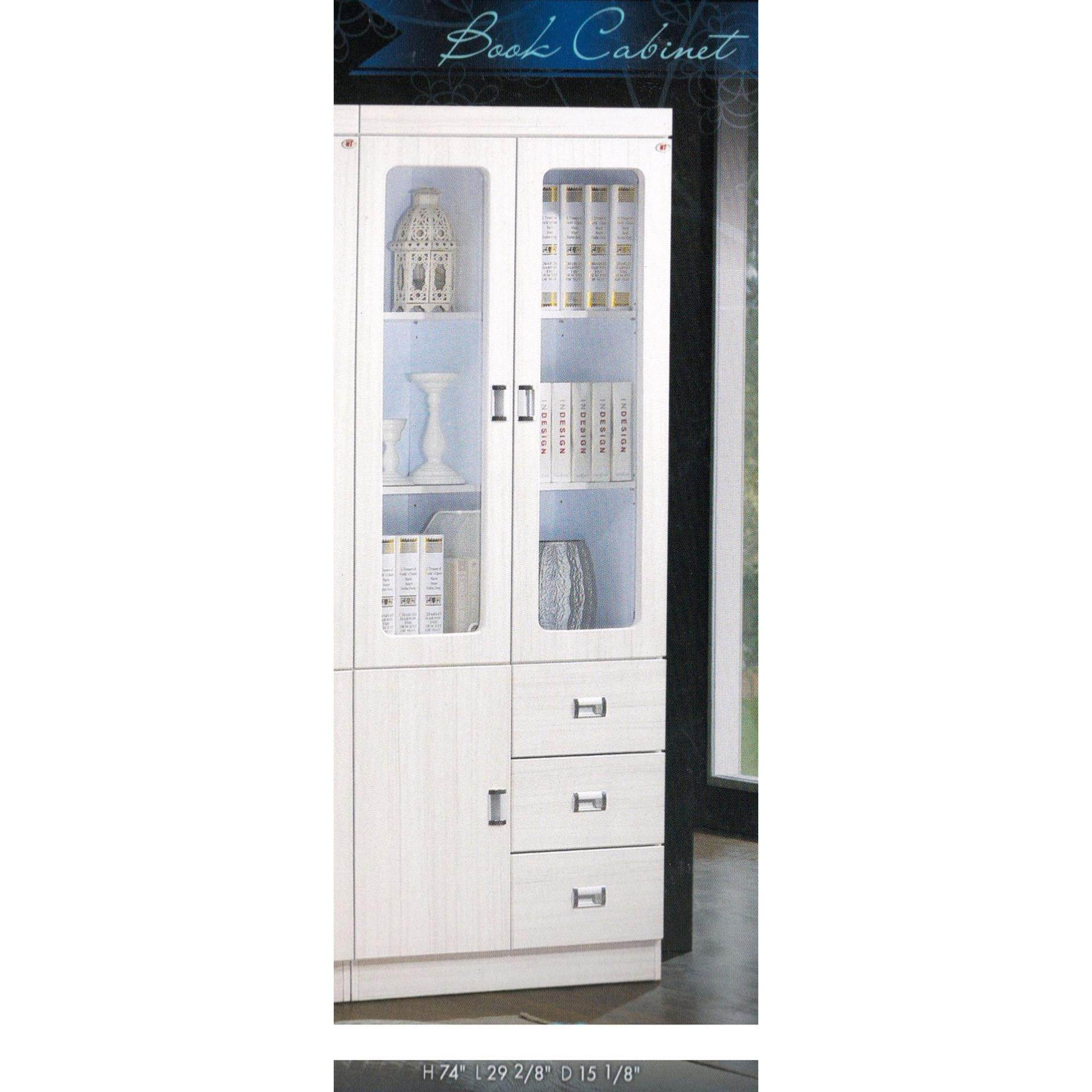 Ready-Fixed 2 Door 3 Drawers Book Shelf Multi-Purpose Display Cabinet (White) L743MM X W384MM X H1879MM