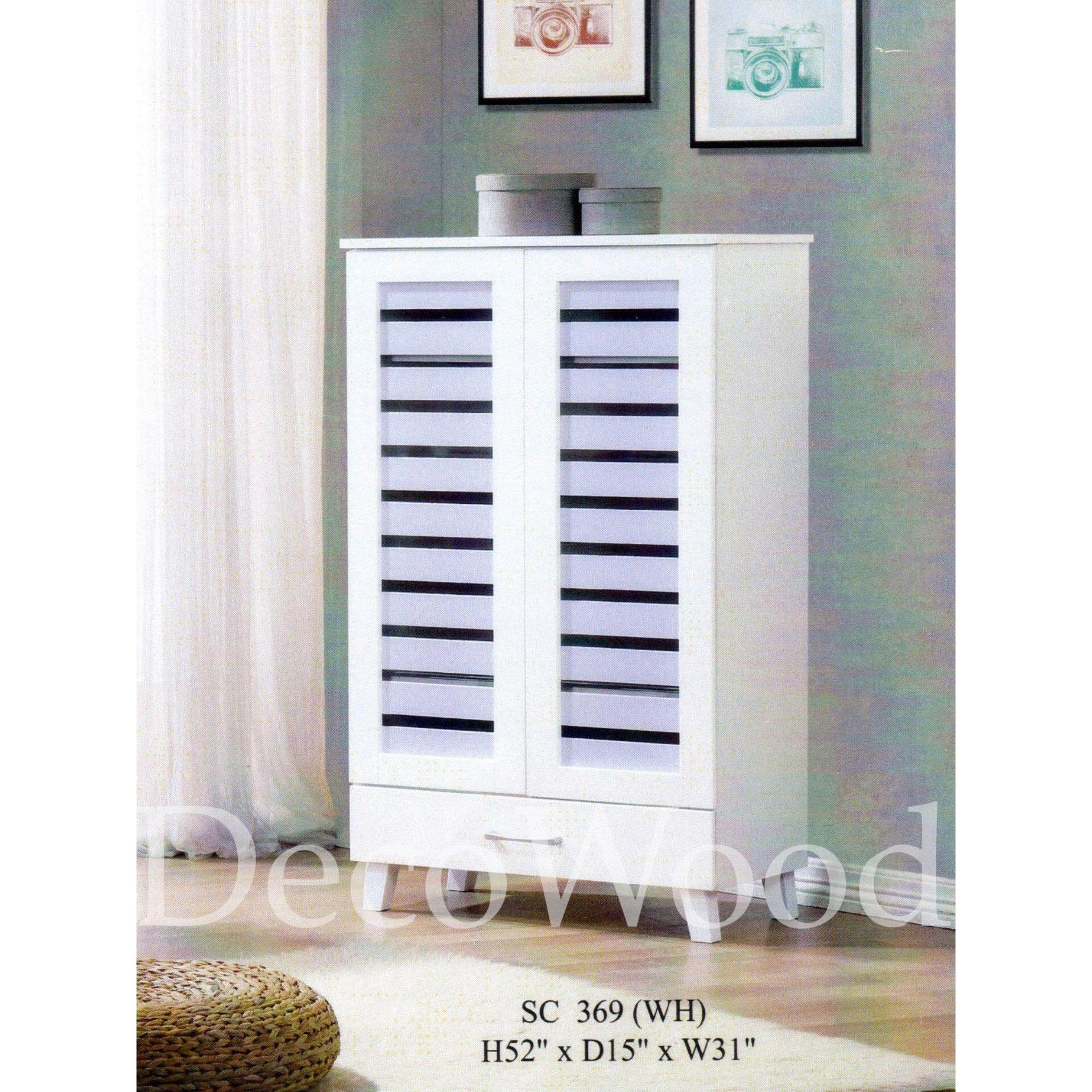 Ready-Fixed 2 Door 5 Layer Solid Wood Shoes Cabinet (White Colour) L787MM X W380MM X H1320MM Pre Order 2 Week